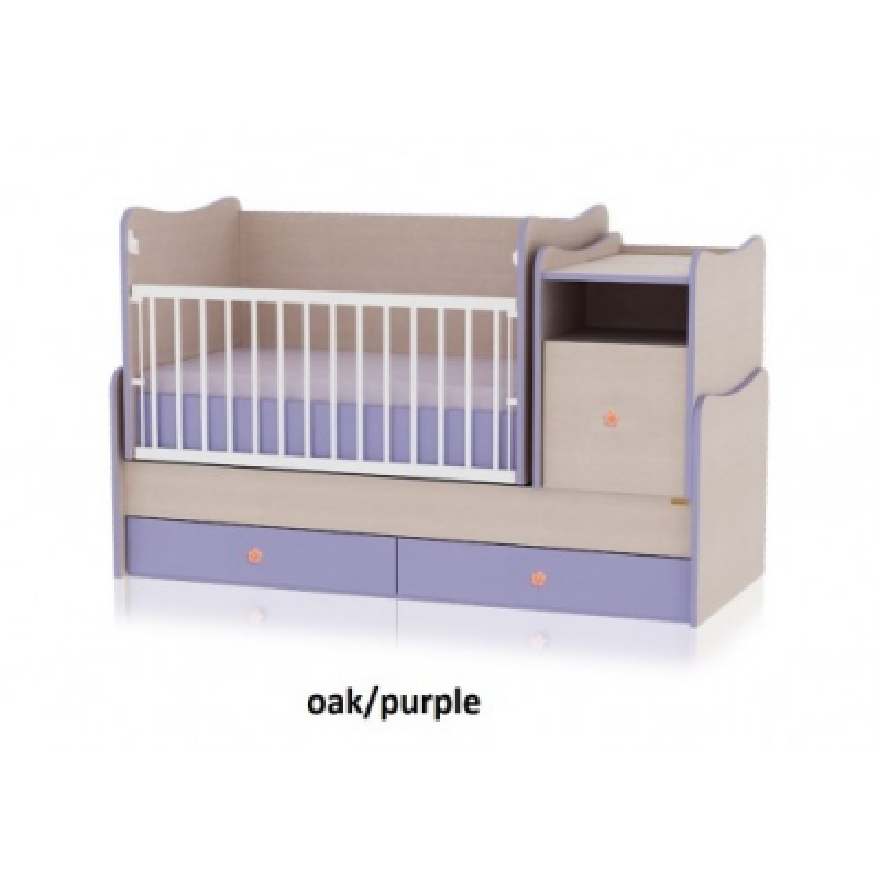 Кроватка-трансформер Bertoni TREND PLUS (oak\purle)