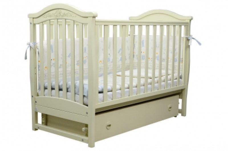 Кроватка детская ЛД 3, резьба, слоновая кость