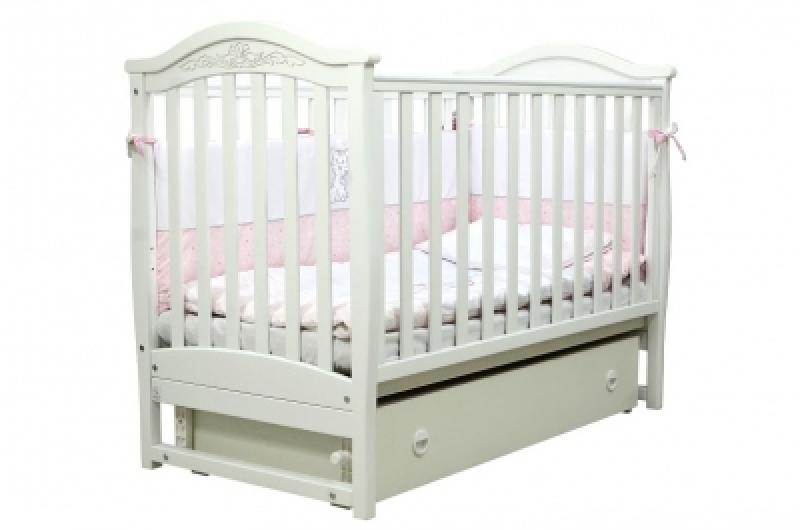 Кроватка детская ЛД 3, резьба, белый