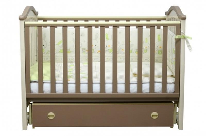 Кроватка детская ЛД 3, резьба, капучино