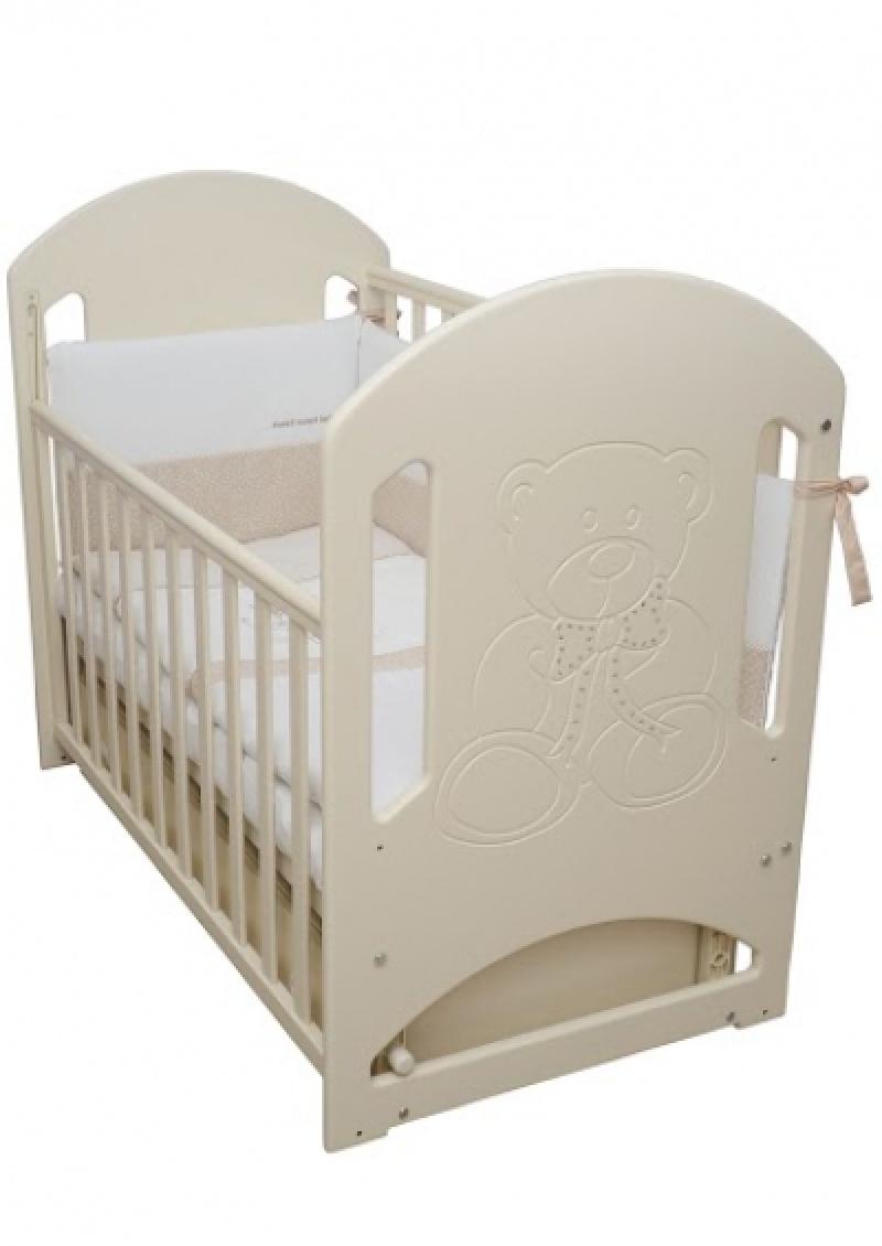 Кроватка детская ЛД 8 (резьба мишка со стразами), слоновая кость