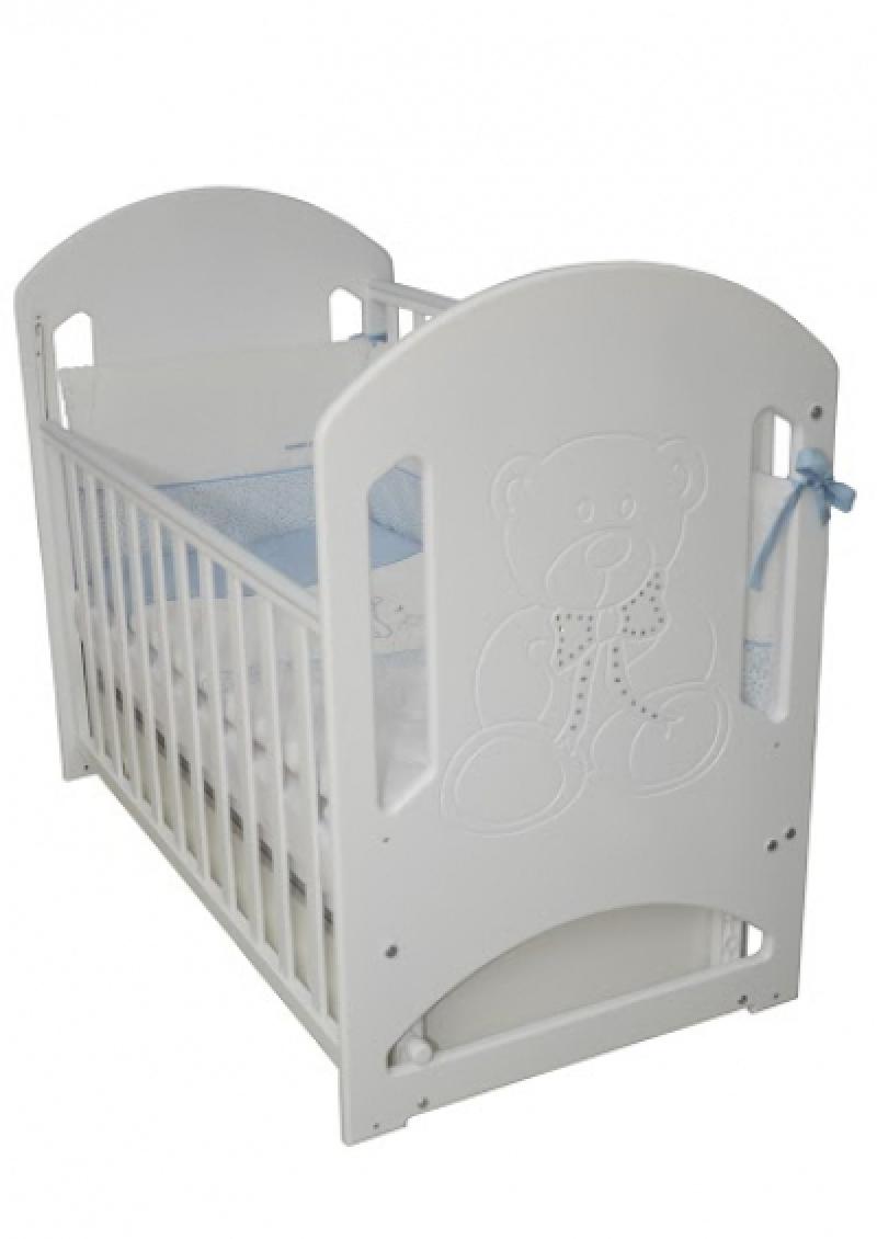 Кроватка детская ЛД 8 (резьба мишка со стразами), белый