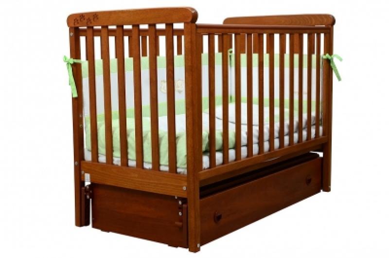 Кроватка детская ЛД 12, резьба лапки, ольха
