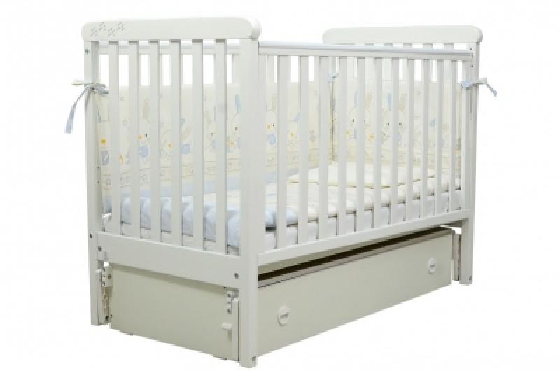 Кроватка детская ЛД 12, резьба лапки, белый