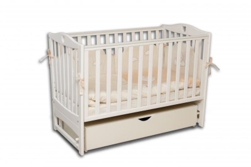 Кроватка детская ЛД7 белая маятник+шухляда