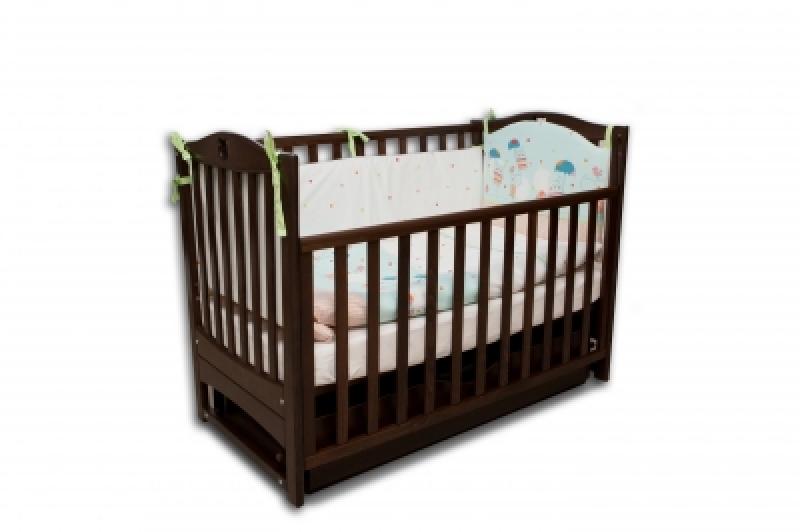 Кроватка детская ЛД7 орех маятник+шухляда