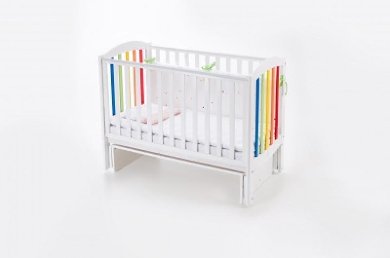 Кроватка детская ЛД 10 маятник без ящика подвижная боковина, белая - радуга
