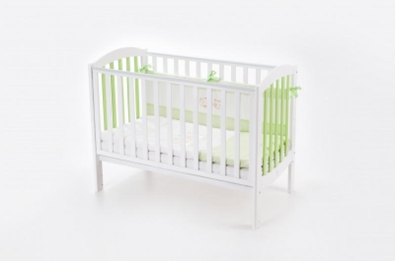 Кроватка детская ЛД 10 маятник без ящика подвижная боковина, бело-зеленая
