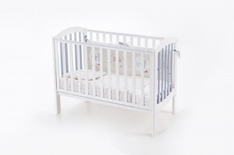 Кроватка детская ЛД 10 маятник без ящика подвижная боковина, бело-серая