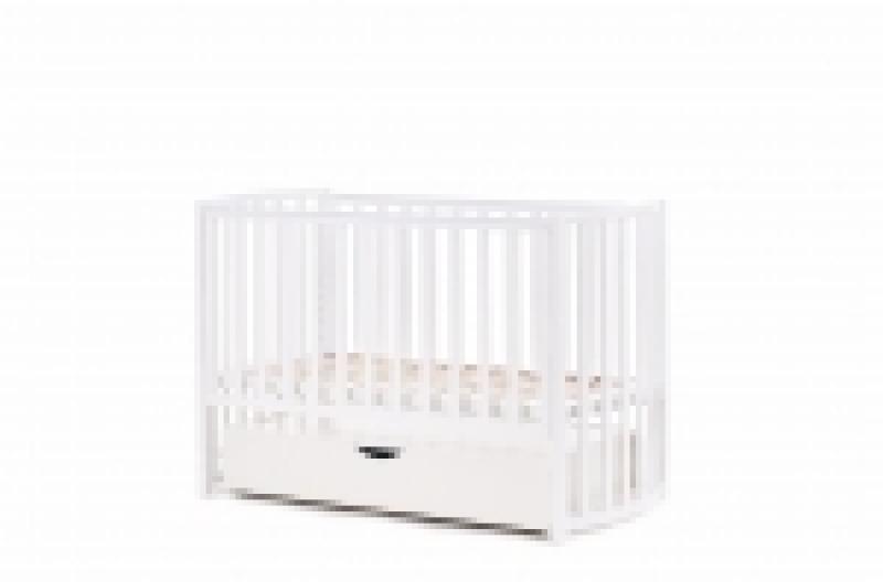 Кроватка детская Соня ЛД14 маятник + шухляда  овал белая