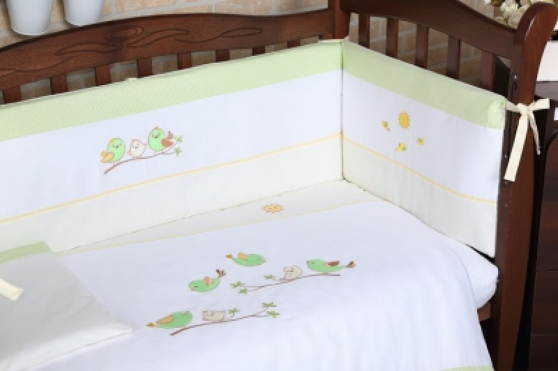 "Защита (бампер) Veres ""Spring Birdies green"" (4 ед)"
