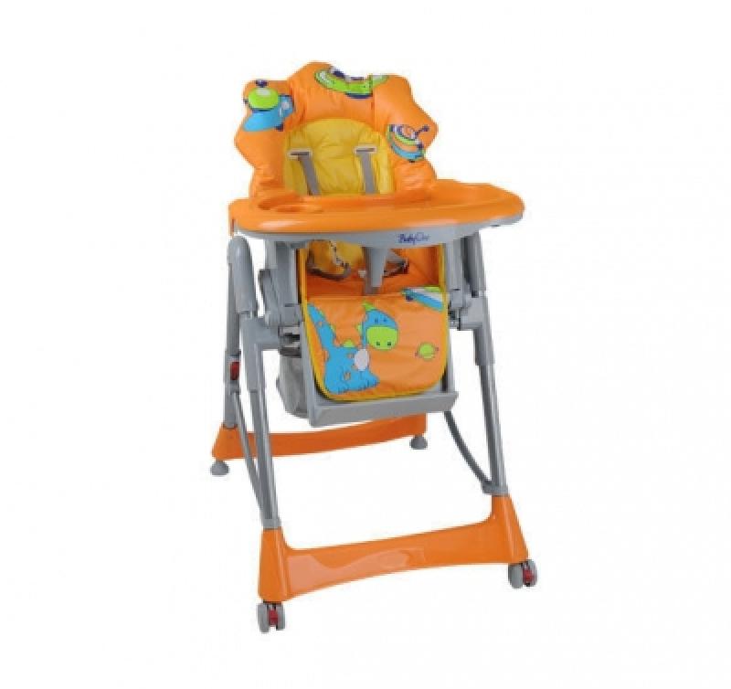 Стульчик для кормления BabyOno 2878/01 orange/dino