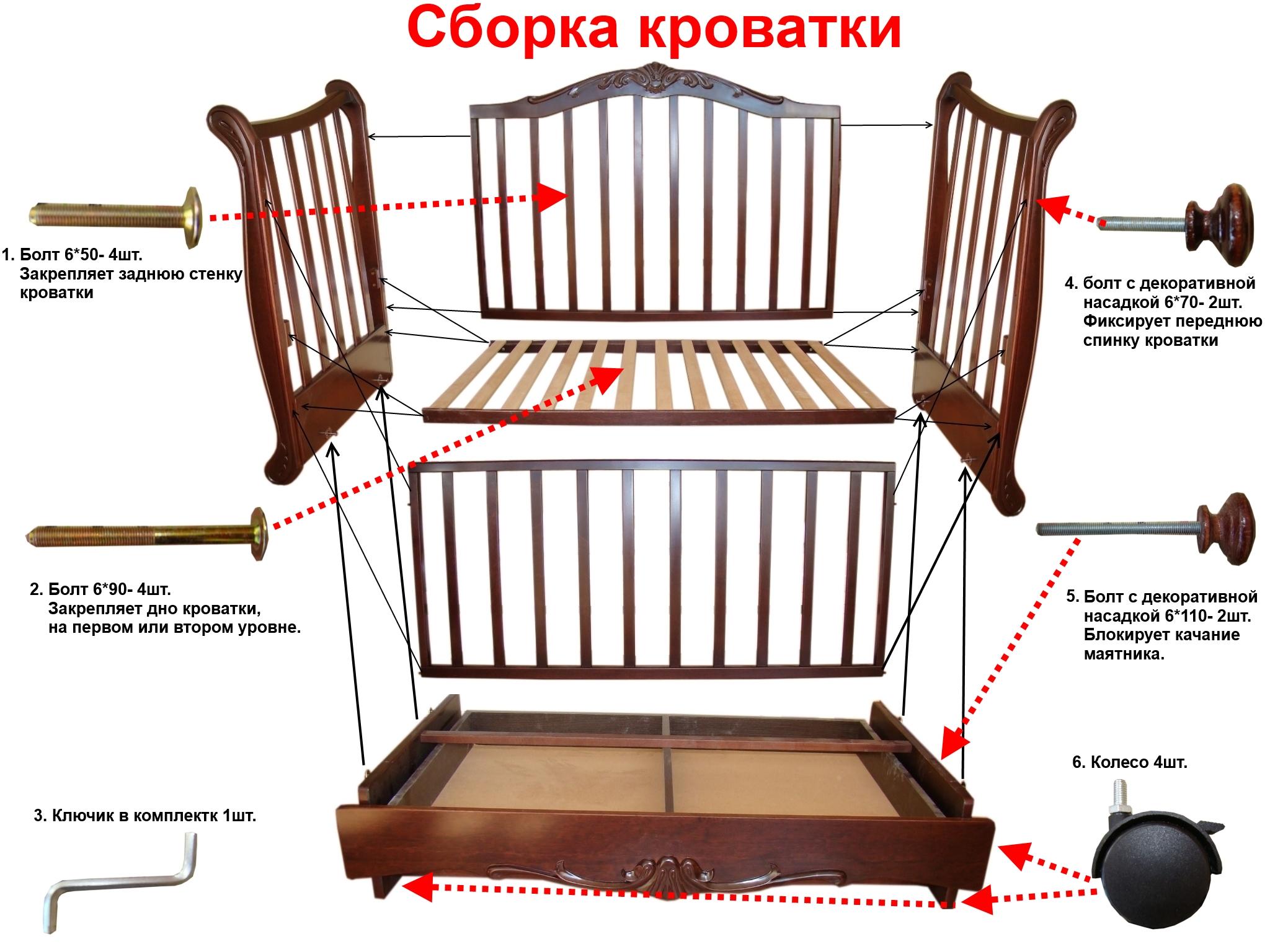 инструкция сборки кроватка бантики маятник поперечный слоновая кость